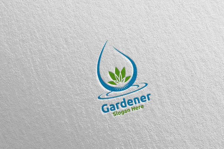 Water Botanical Gardener Logo Design 21 example image 1