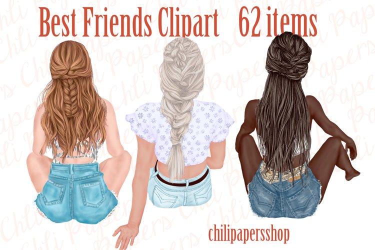 Best Friends Clipart,Besties clipart,Fashion Girls Stickers