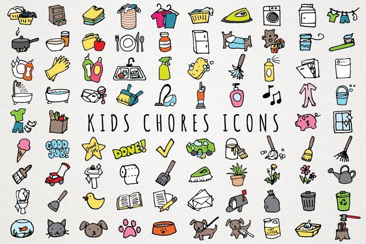 Fun Hand Drawn Kids Chores Icons Set