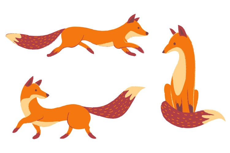 Autumn Foxes and Fall Elements, Woodland Animals Clipart example 1