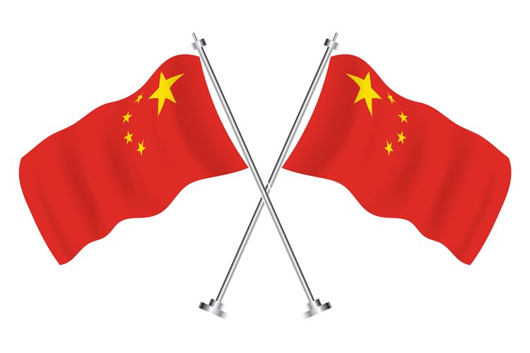 Crossed Flags of China. Vector Illustration. example image 1