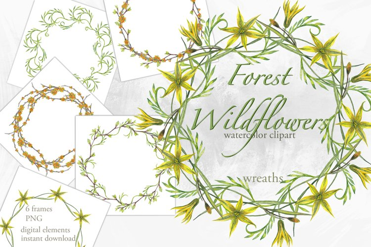Watercolor floral wreaths Forest wildflowers frames clipart