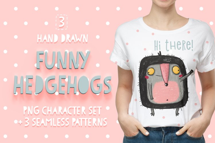 Funny hedgehogs character set