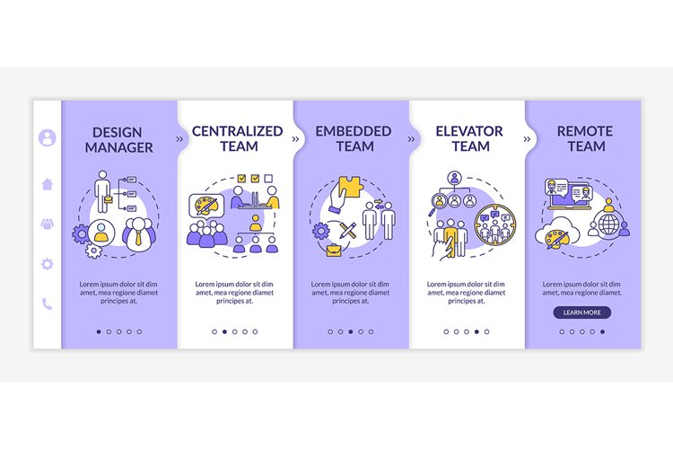 Types of design team onboarding vector template example image 1