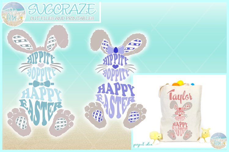 Hippity Hoppity Happy Easter Bunny Svg Dxf Eps Png Pdf Files example image 1