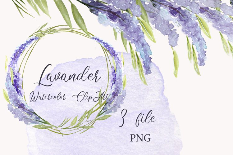 Pastel floral watercolor wreath clipart , borders lavander
