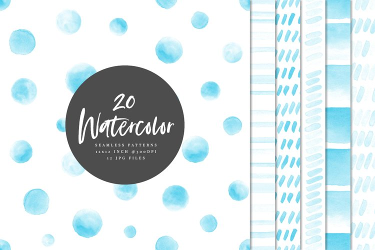 20 Seamless Watercolor Patterns Light Blue
