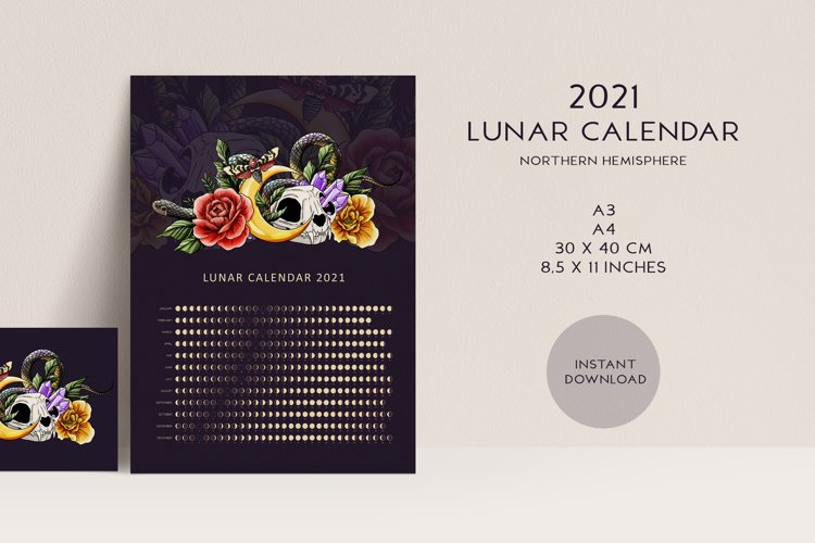 2021 Lunar Calendar Printable Witchy Moon Calendar 2021 example image 1