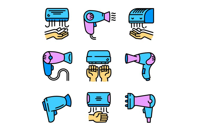 Dryer icons set, outline style example image 1