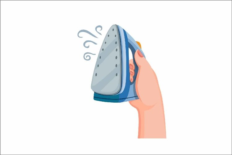 Hand holding iron steam laundry concept in cartoon vector example image 1
