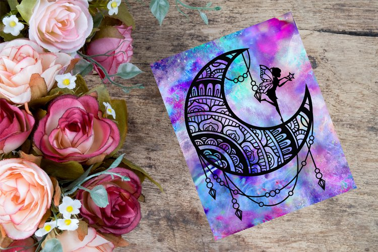 Fairy In Moon Paper Cut Template, Fairy SVG, Fantasy SVG