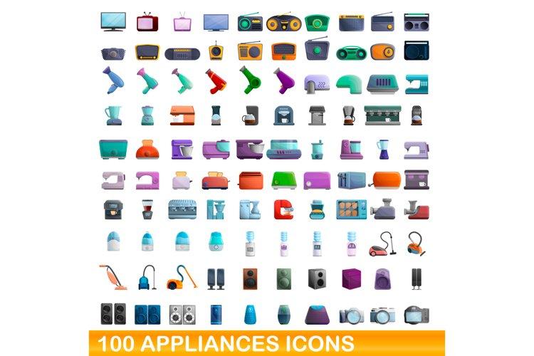 100 appliances icons set, cartoon style example image 1