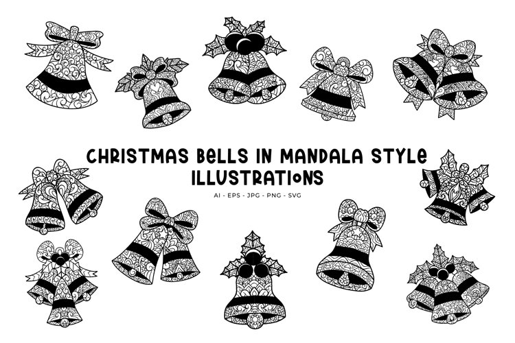 Christmas Bells In Mandala Style illustrations example image 1