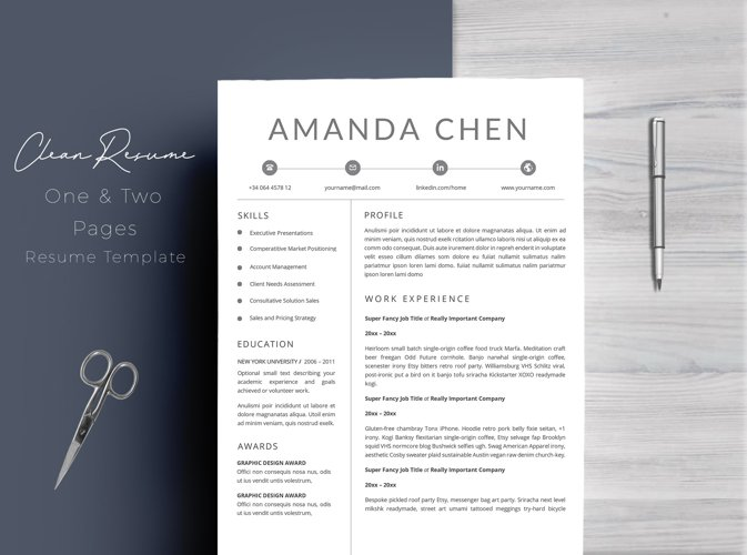 Clean Professional Resume Template Word example image 1