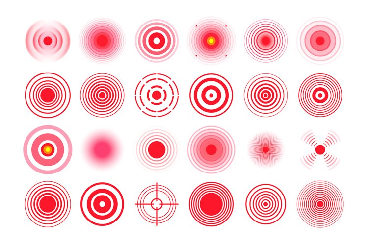 Red pain circle. Painful target mark, pain area circles and example image 1