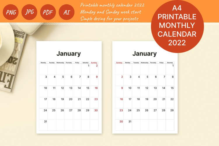 Printable Calendar. 2022 monthly planner sheets A4