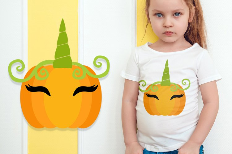Pumpkin Unicorn svg - Halloween svg for kids example image 1