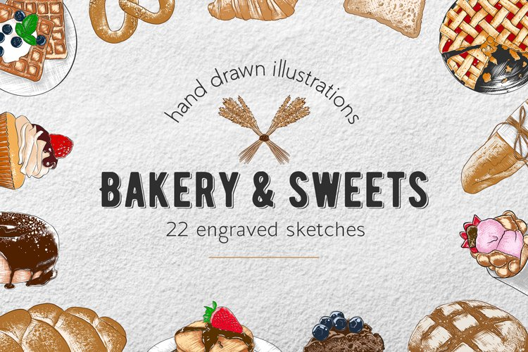 Bakery and sweets colorful sketches example image 1