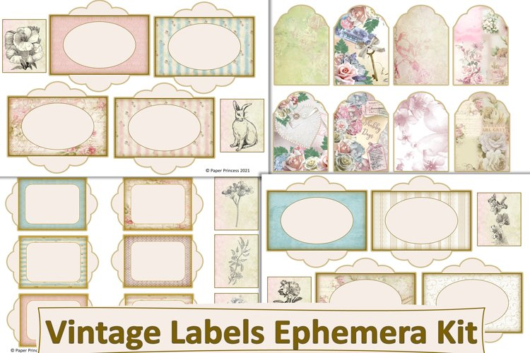 Shabby Chic Vintage Labels JPEG PDF and PNG