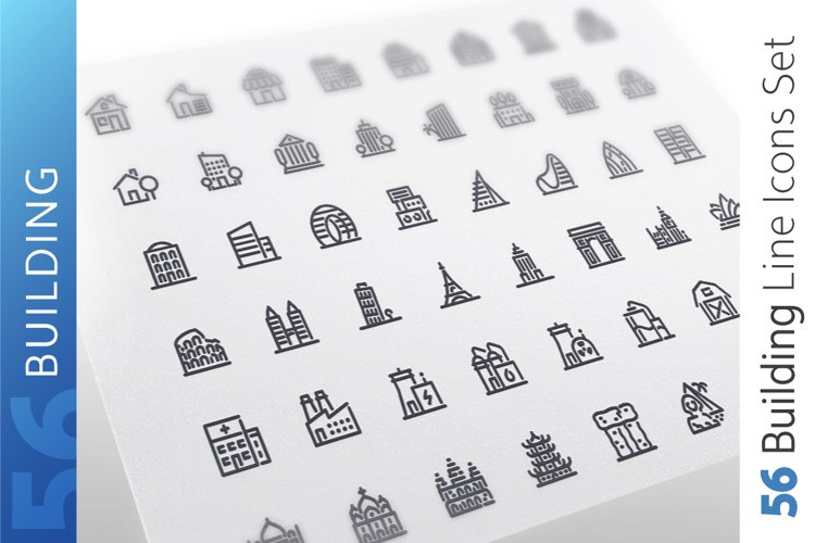Building Line Icons Set example image 1