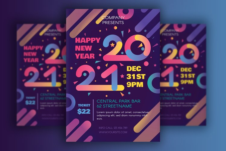 Modern Happy 2021 New Year Poster