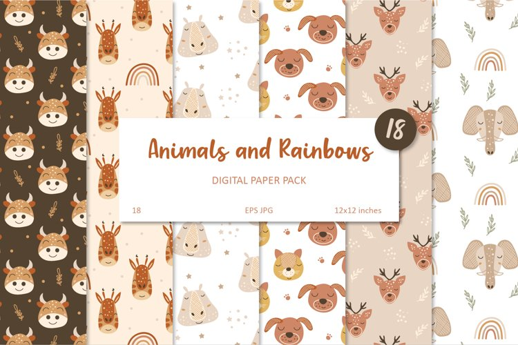 Animal and Rainbow Seamless Patterns, Nursery Digital Paper example image 1