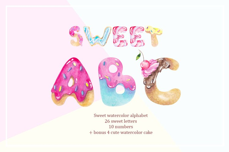 Sweet alphabet. Watercolor letter example image 1
