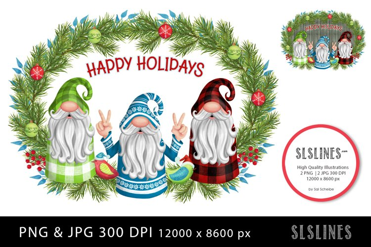 Trio of Christmas Gnomes PNG sublimation example image 1