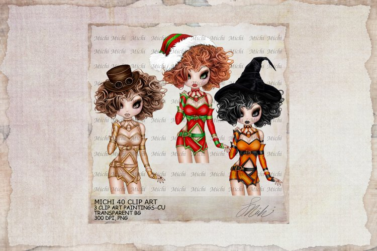 Michi 40 Christmas, Santa, Steampunk, Halloween Clip Art