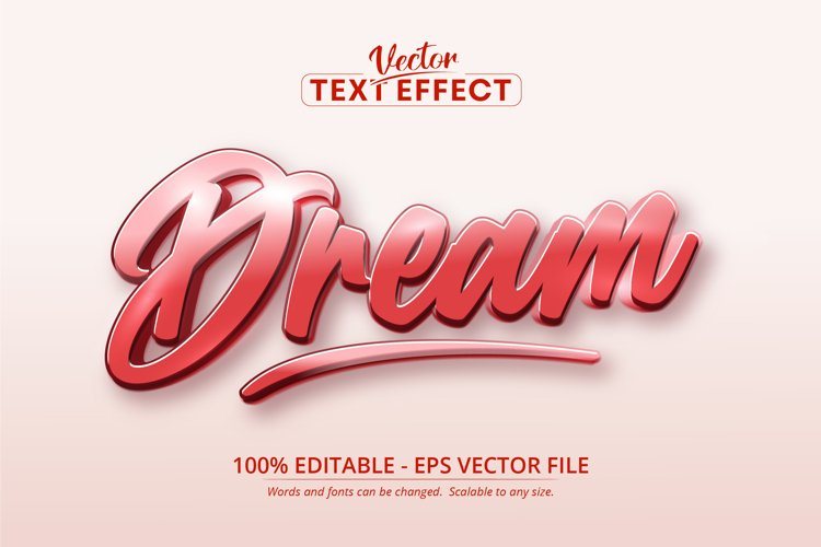 Dream text, calligraphic style editable text effect