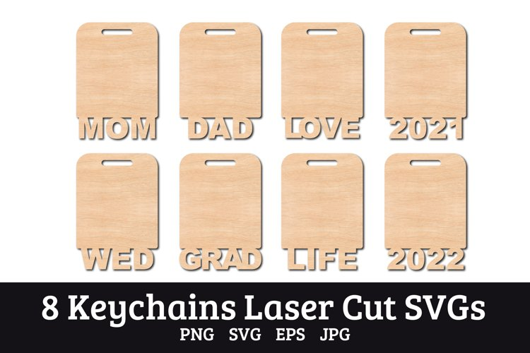 8 Keychains laser wood cut templates SVGs example 1