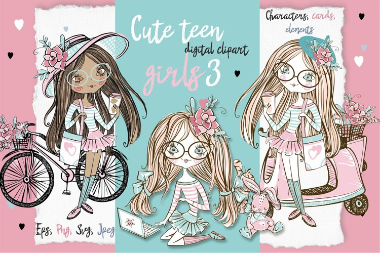 Cute Teen Girls 3, Digital Clipart, Fashion Girls, Valentine example image 1