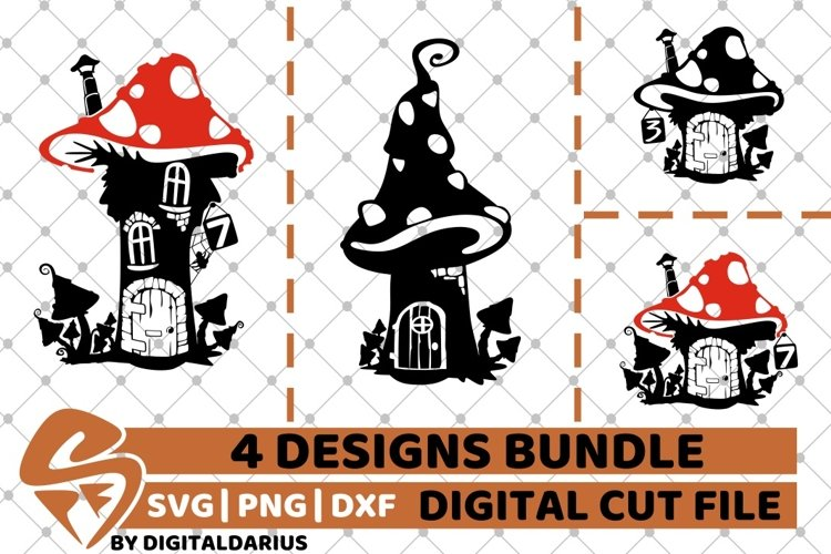 4x Fairy Home Designs Bundle svg, Home Decor svg, Magic svg example image 1