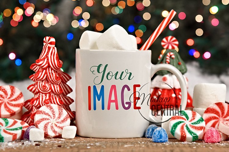 Winter Coffee Glass Mug Mock Up, JPG Hot Cocoa Cup Mockup example image 1