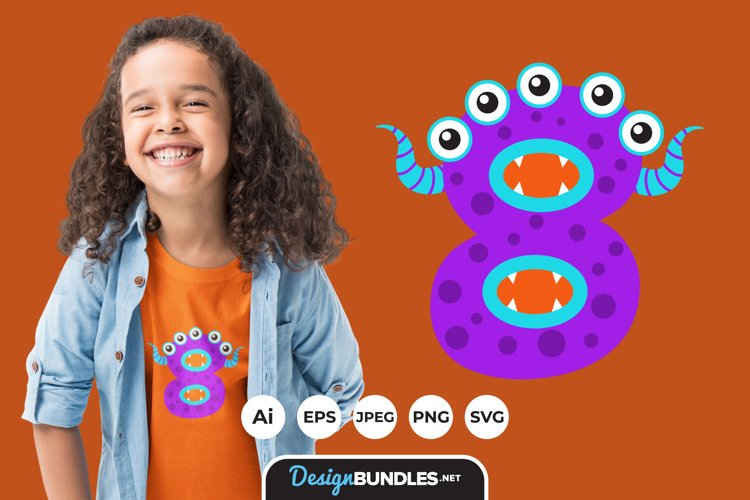Monster Numbers Illustration for T-Shirt Design example image 1