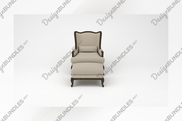 Wooden chair with foot rest front view furniture 3d example image 1