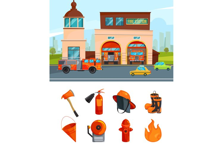 Municipal building of fire station services. Vector pictures example image 1