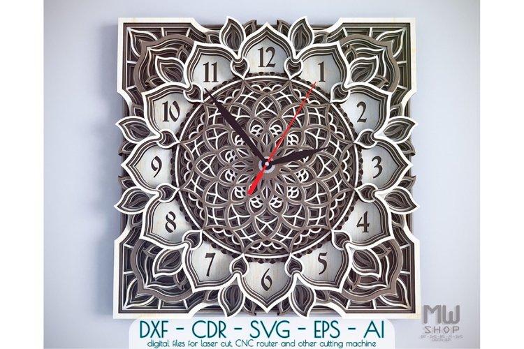 C04 - Mandala Flower Clock, Layered Clock DXF, Clock SVG example image 1