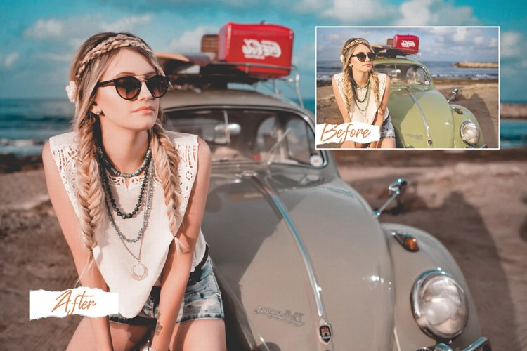 18 Miami Photoshop Actions, ACR, LUT Preset bright summer fi example image 1