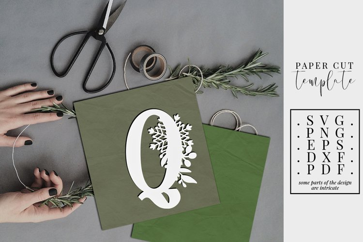 Winter letter Q, single initial paper cut, snowflakes SVG example image 1