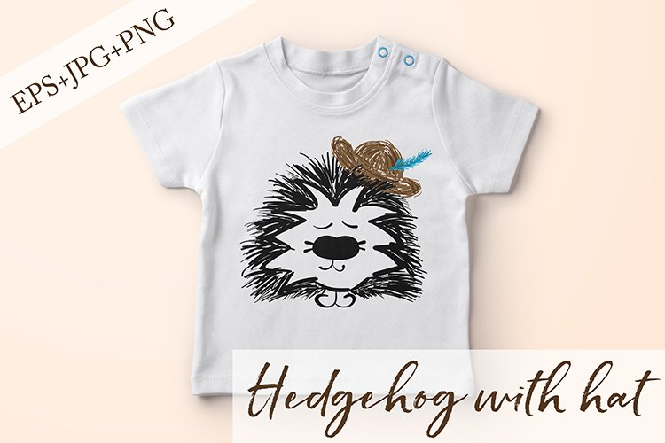 Hedgehog with hat. JPG, PNG, EPS example image 1