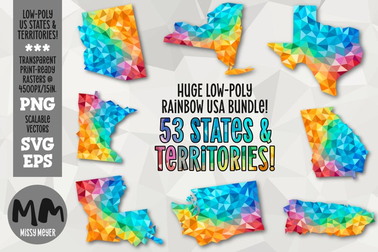 50 states USA low-poly rainbow bundle for sublimation print example image 1