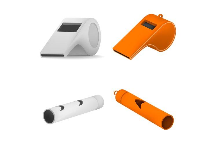 Whistle coaching blow mockup set, realistic style example image 1