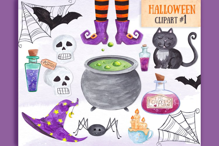 Witch Halloween clipart Watercolor witch items clipart decor example image 1