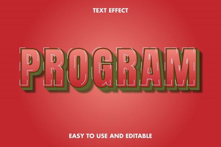 Program text effect. easy to use and editable. premium example image 1