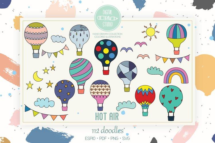 Hot Air Balloons, Color, Sun, Moon, Cloud, Star, Rainbow
