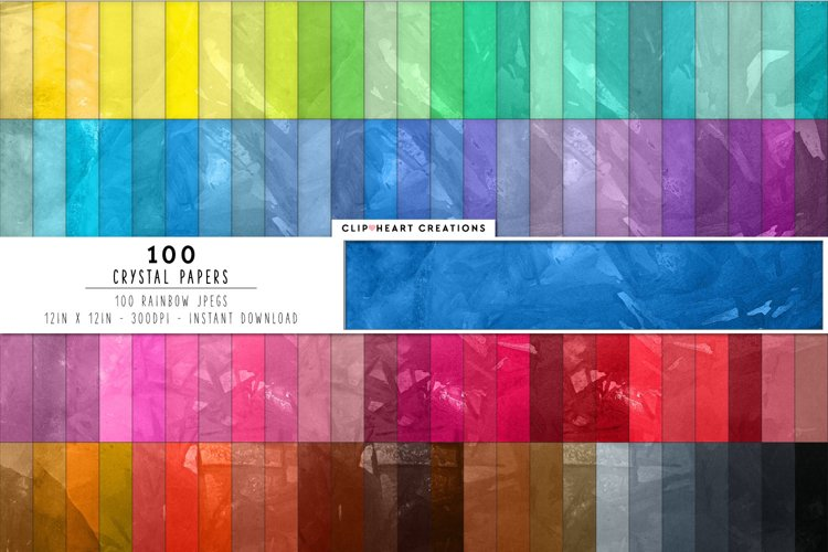 100 Crystal Pattern Digital Papers in Rainbow Colors example image 1