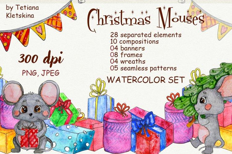 Christmas Mouses watercolor set