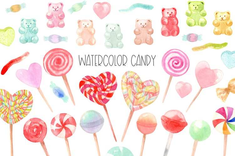 Watercolor candy. Valentines Day. Patterns and Cliparts