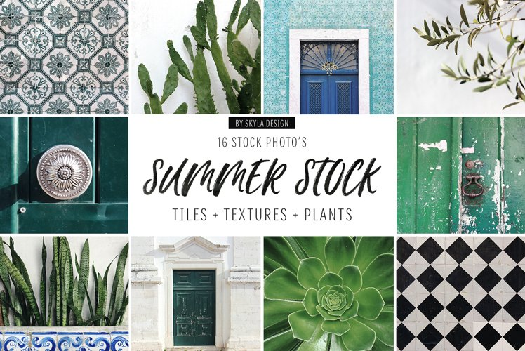 Summer stock photos Lisbon green tiles texture plants example image 1